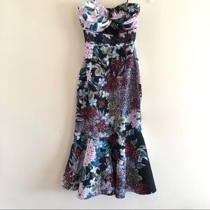 Keepsake MultiColored Floral Strapless Midi Dress